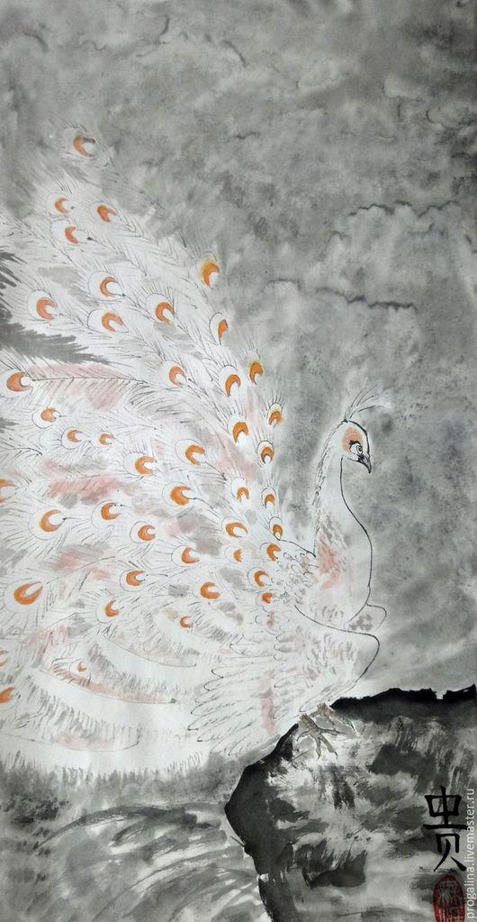 Животные ручной работы. Ярмарка Мастеров - ручная работа. Купить Белый павлин. Handmade. Китайская живопись, серый, картина в подарок