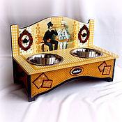 """Для домашних животных, handmade. Livemaster - original item Интерьерная подставка под миски """"Кафе Печенюшка""""(авторский дизайн). Handmade."""