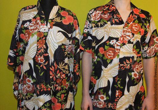 Одежда. Ярмарка Мастеров - ручная работа. Купить Винтажный гавайский комплект Family Look  муж+жена или мама+сын). Handmade. Комбинированный