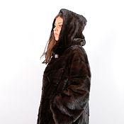 Одежда ручной работы. Ярмарка Мастеров - ручная работа Шуба из норки 100 см цвет махагон. Handmade.