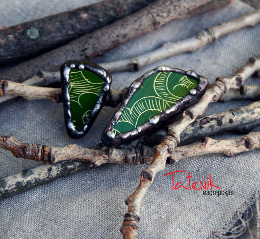 """Кольца ручной работы. Ярмарка Мастеров - ручная работа. Купить Колечки """"Зеленые кусочки"""" из Самаркандской керамики. Handmade. Тиффани, Керамика"""