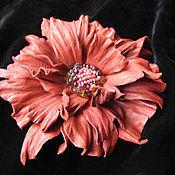 Украшения handmade. Livemaster - original item Jewelry made of leather.Flower brooch hair clip FANTASY .. Handmade.