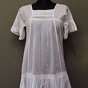 Винтаж handmade. Livemaster - original item ITALY STEFANEL Dress 100% cotton Vintage. R. XS (42-44). Handmade.