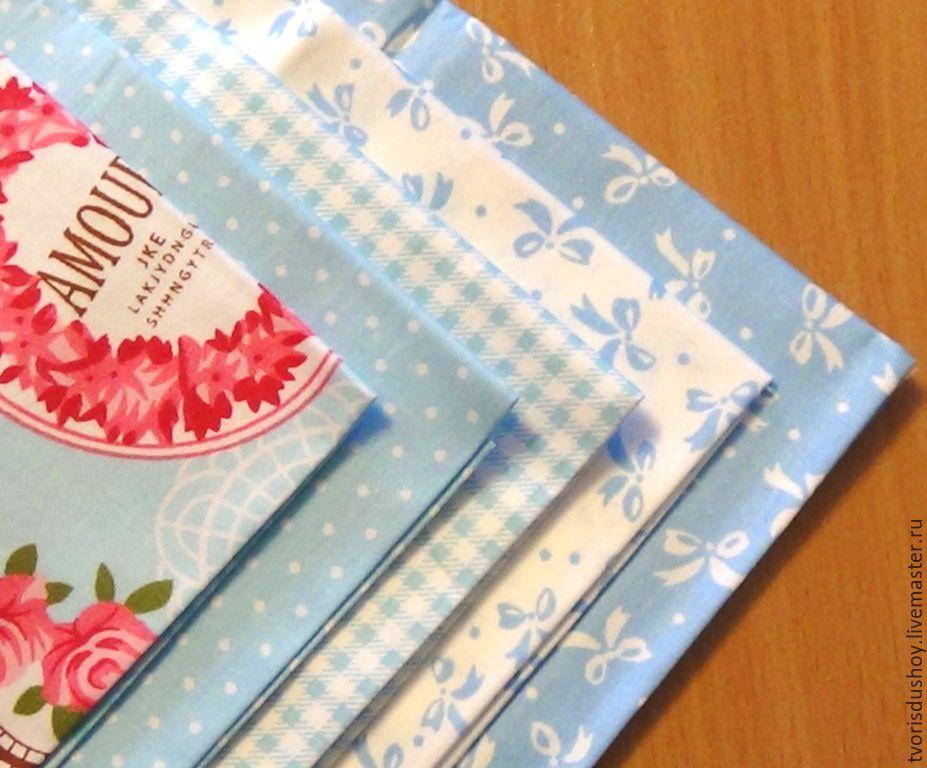 Набор тканей из хлопка 5 отрезов  в голубых тонах, Шитье, Барнаул, Фото №1