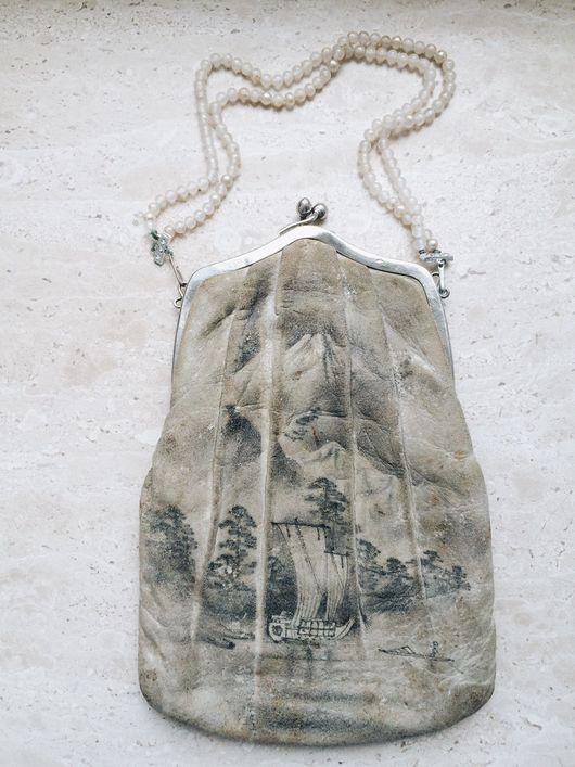 Винтажная одежда и аксессуары. Ярмарка Мастеров - ручная работа. Купить Антикварная сумочка, китайская (японская) роспись тушью по коже. Handmade.