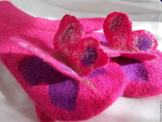 Варежки, митенки, перчатки ручной работы. Ярмарка Мастеров - ручная работа. Купить Варежки, рукавички валяные Бабочки. Handmade. Розовый