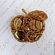 Брошь-кулон - Золотое яблоко. Небольшая, изящная, легкая брошь ручной работы. Перламутр, стразы Сваровски, стекло ручной работы, японский бисер. Украшение для девушки, украшение для женщины, подарок