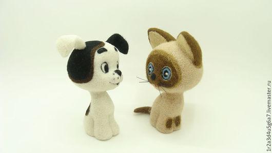Сказочные персонажи ручной работы. Ярмарка Мастеров - ручная работа. Купить Друзья котёнка Гав (Шарик). Handmade. Чёрно-белый
