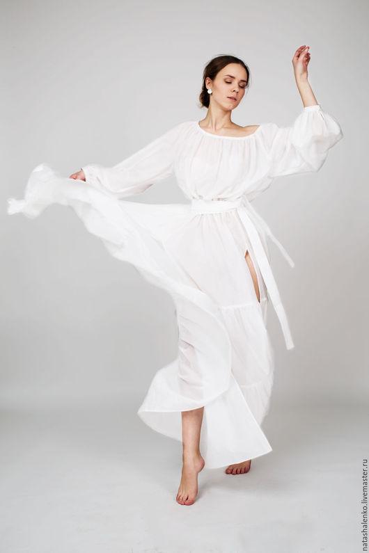 Платья ручной работы. Ярмарка Мастеров - ручная работа. Купить Платье из батиста. Handmade. Белый, свободное платье, батист шёлковый