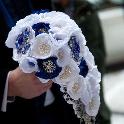 Свадебные цветы ручной работы. Ярмарка Мастеров - ручная работа. Купить Свадебный брошь-букет. Handmade. Брошь букет, проволока