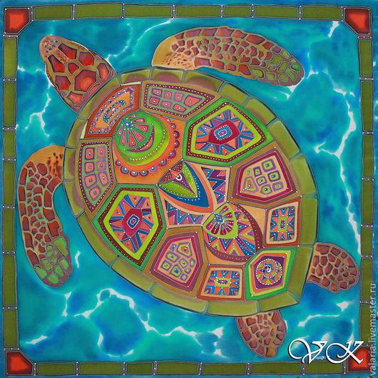 """Шали, палантины ручной работы. Ярмарка Мастеров - ручная работа. Купить Платок батик """"Великая черепаха"""". Handmade. Рисунок, разноцветный"""