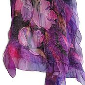 Аксессуары handmade. Livemaster - original item Batik Tippet felted Pink Orchid. Handmade.