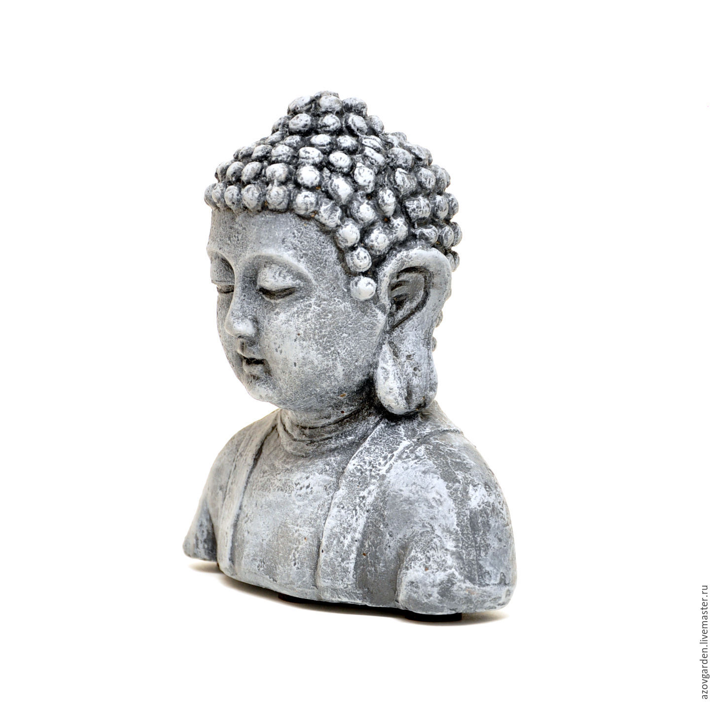 buy concrete bust of buddha for home decor and garden - grey, brown