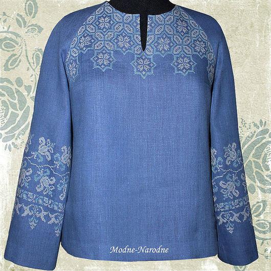 Льняная блуза с ручной вышивкой Лилия 2.\r\n\r\nТворческое ателье Modne-Narodne. Модная одежда с ручной вышивкой.