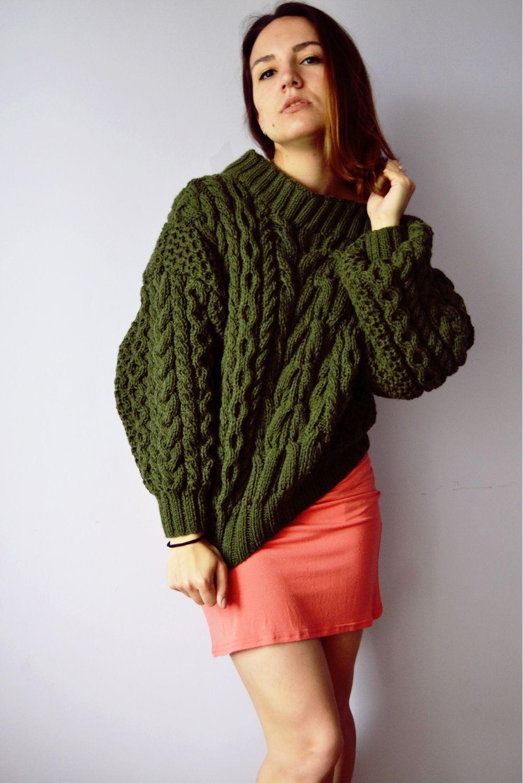 Вязаный свитер ручной работы в стиле Рубан цвета хаки ...
