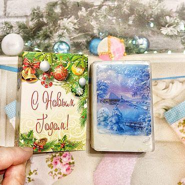 Сувениры и подарки ручной работы. Ярмарка Мастеров - ручная работа Новогоднее мыло открытка. Handmade.