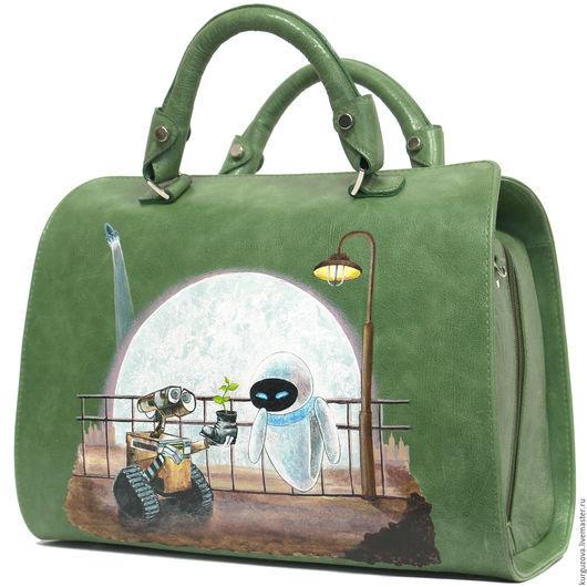 Женские сумки ручной работы. Ярмарка Мастеров - ручная работа. Купить Валли. Handmade. Зеленый, зеленая кожа, мультики