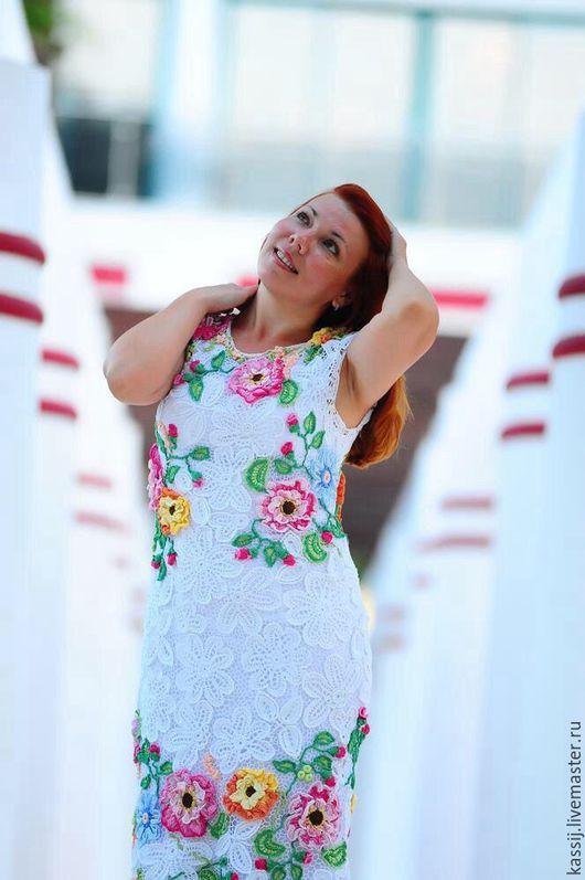 """Платья ручной работы. Ярмарка Мастеров - ручная работа. Купить """"Цветы на снегу"""". Handmade. Белый, ирландское кружево, полиэстер"""