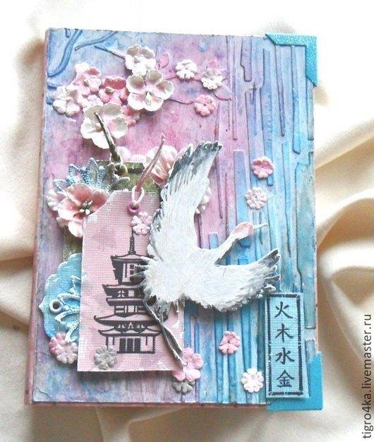"""Блокноты ручной работы. Ярмарка Мастеров - ручная работа. Купить БЛОКНОТ """"Любовь к востоку"""". Handmade. Разноцветный, журавль, япония"""