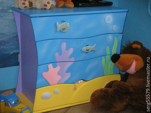 """Детская ручной работы. Ярмарка Мастеров - ручная работа. Купить Комод """"Морской"""". Handmade. Комод, рыбки, мебель для детской, краска"""