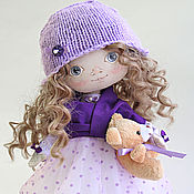 Куклы и игрушки handmade. Livemaster - original item The doll-baby Natasha.Doll with gray eyes in a purple dress. Handmade.