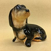 Для дома и интерьера handmade. Livemaster - original item Dachshund smooth-haired porcelain figurine. Handmade.