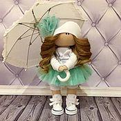 Тыквоголовка ручной работы. Ярмарка Мастеров - ручная работа Текстильная кукла ручной работы с зонтиком. Handmade.