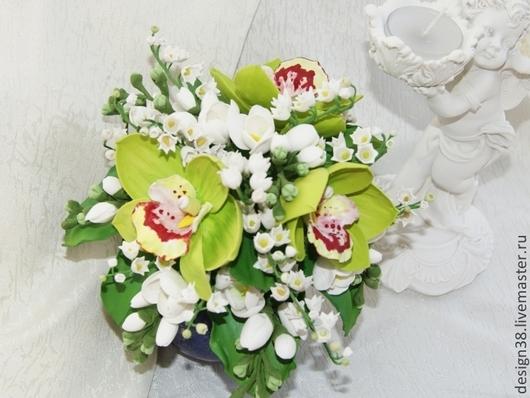 Свадебные цветы ручной работы. Ярмарка Мастеров - ручная работа. Купить Букет цветов из полимернй глины. Handmade. Разноцветный