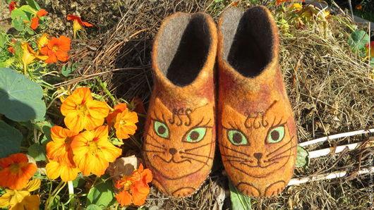 Обувь ручной работы. Ярмарка Мастеров - ручная работа. Купить Тапочки Сладкая парочка. Handmade. Оранжевый, комфортная обувь