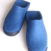 Обувь ручной работы handmade. Livemaster - original item Mens felted Slippers blue. Handmade.