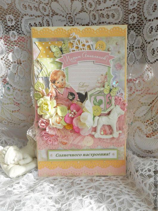 Детские открытки ручной работы. Ярмарка Мастеров - ручная работа. Купить открытка Солнечная (детская). Handmade. Лимонный, новорожденной девочке