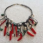 Украшения handmade. Livemaster - original item Boho necklace with coral, pearls, howlite. Handmade.