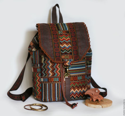 Рюкзак купить, рюкзак в подарок, рюкзак для прогулок, рюкзак в этническом стиле, сумки и рюкзаки ручной работы, автор Юлия Льняная сказка