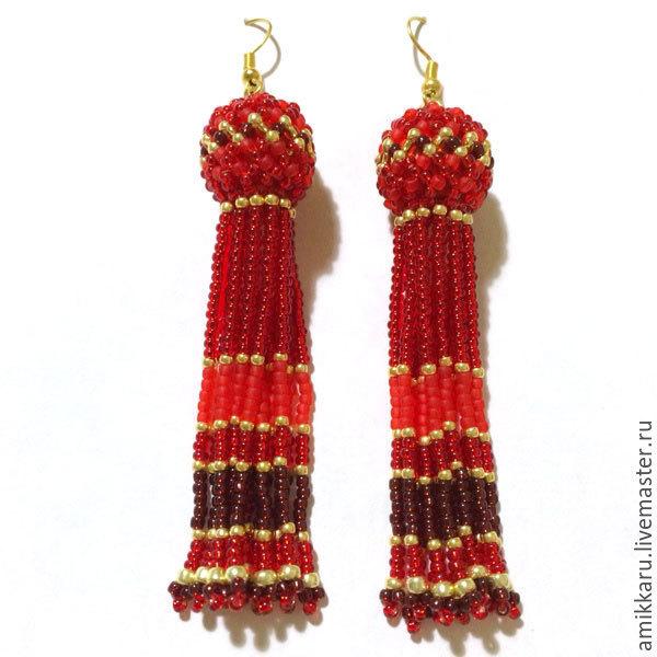 Earrings-tassels beaded red, Tassel earrings, Kireevsk,  Фото №1