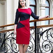 Одежда handmade. Livemaster - original item Jersey dress with pockets-red, grey. Handmade.