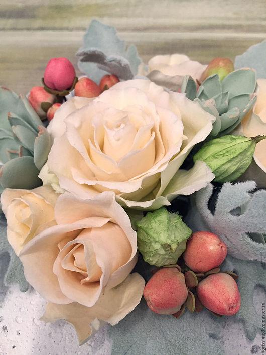 """Букеты ручной работы. Ярмарка Мастеров - ручная работа. Купить """"Ангела крыло""""букет полимерной глины с розами, цинерарией и гиперикумо. Handmade."""
