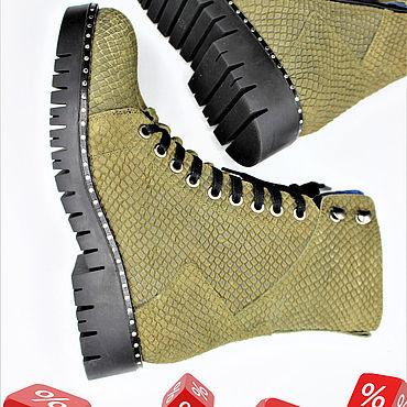 Обувь ручной работы. Ярмарка Мастеров - ручная работа Ботинки - 37% зима, хаки кожаные.. Handmade.