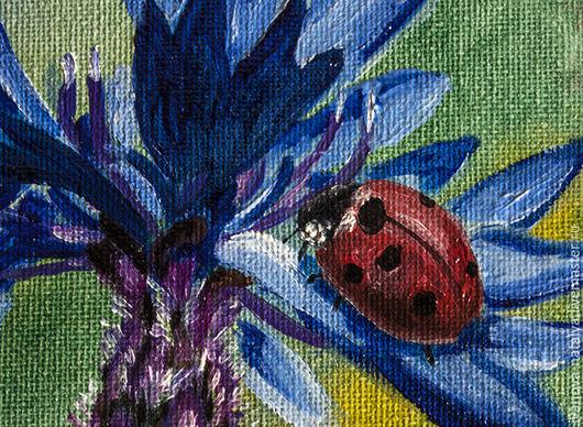 Картины цветов ручной работы. Ярмарка Мастеров - ручная работа. Купить василек. Handmade. Васильковый, божья коровка, масляная живопись