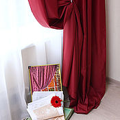 Для дома и интерьера ручной работы. Ярмарка Мастеров - ручная работа Бордовые портьеры из сатена. Handmade.