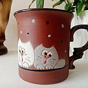 Посуда handmade. Livemaster - original item Ceramic mug handmade: Curious cats. Handmade.