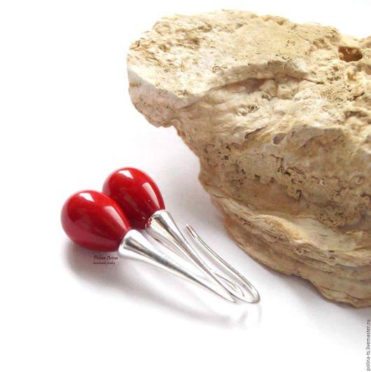 """Серьги ручной работы. Ярмарка Мастеров - ручная работа. Купить Серьги """"Царица племени Падаунг"""" красный мини. Handmade. Серьги"""