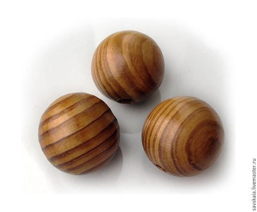Бусина деревянная, диаметр 25 мм Эти бусины могут быть использованы для оплетения бисером и создания украшений
