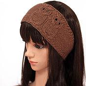 Аксессуары handmade. Livemaster - original item Headband with Owls, knitted women`s Cocoa. Handmade.