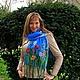 """Шарфы и шарфики ручной работы. Ярмарка Мастеров - ручная работа. Купить Нуно-шарф """"Разноцветные маки"""". Handmade. Голубой"""