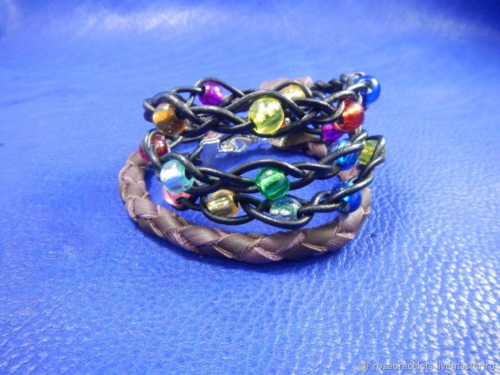 Bracelet wrapped leather Fireflies, Bead bracelet, Ulyanovsk,  Фото №1
