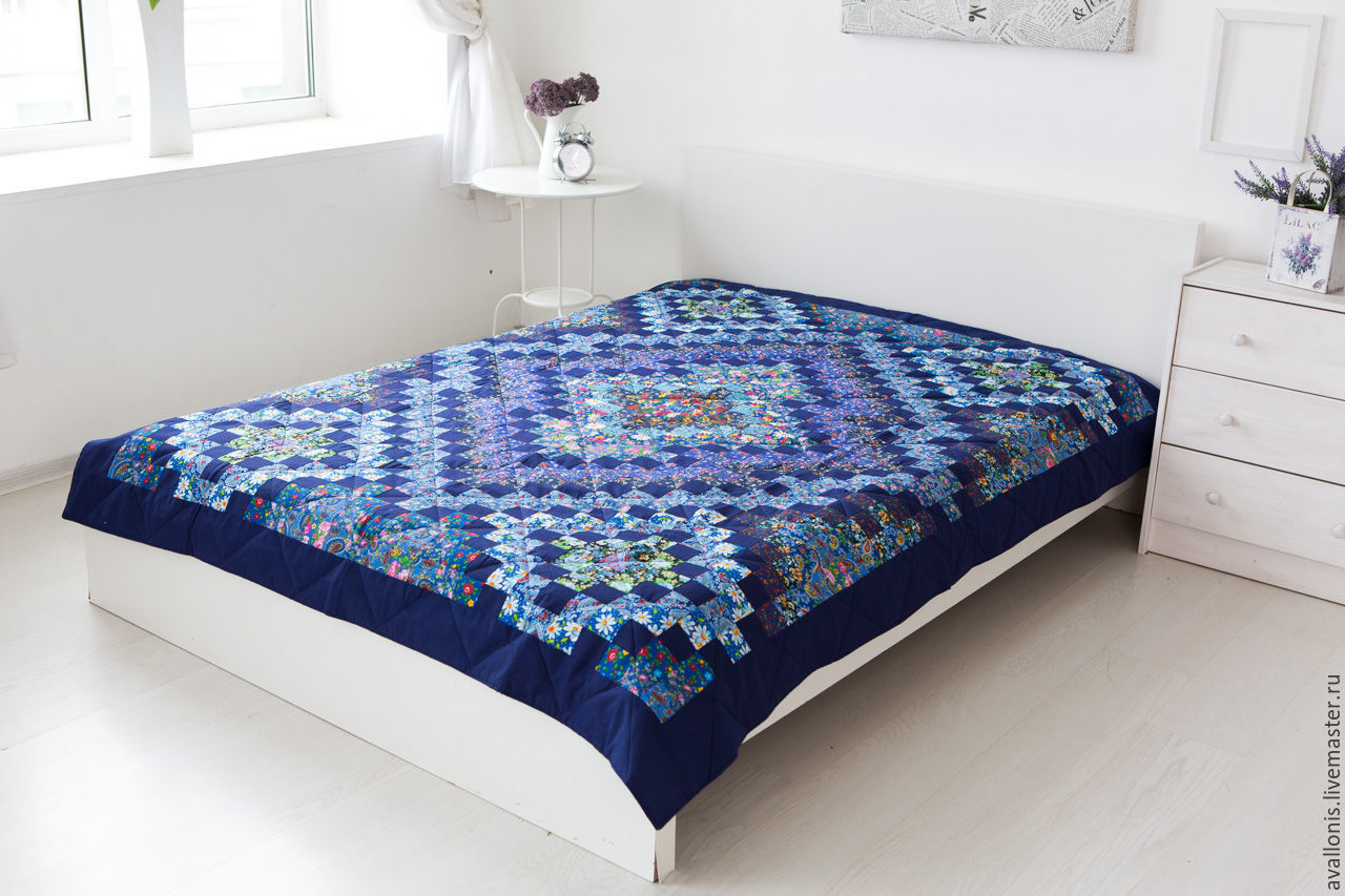 165x215cm blue patchwork bedspread-quilt, Patchwork, Blanket, Moscow,  Фото №1