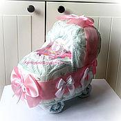 Подарки к праздникам ручной работы. Ярмарка Мастеров - ручная работа Колясочка из памперсов. Handmade.