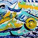 """Абстракция ручной работы. Ярмарка Мастеров - ручная работа. Купить Картина """"На летних волнах"""". Handmade. Картина, лето, мастихин"""