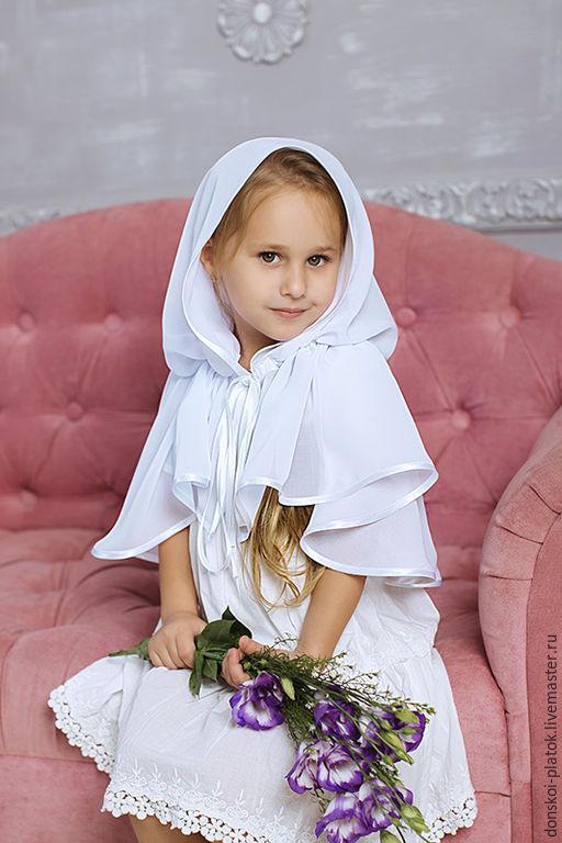 """Шали, палантины ручной работы. Ярмарка Мастеров - ручная работа. Купить платочек в храм """"Алиса"""". Handmade. Белый, платок на крестины"""