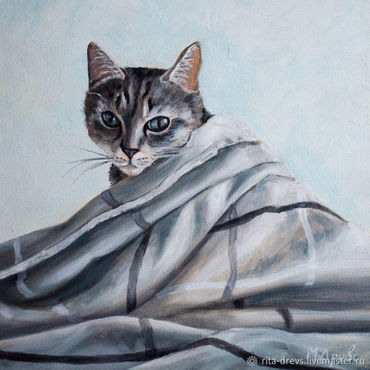 Картины и панно ручной работы. Ярмарка Мастеров - ручная работа Картина маслом Серая кошка. Handmade.